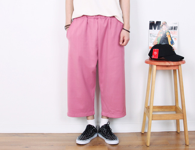 line 8/10 wide pants ; pk [ 2color / free size ] 라인 8부 와이드 팬츠